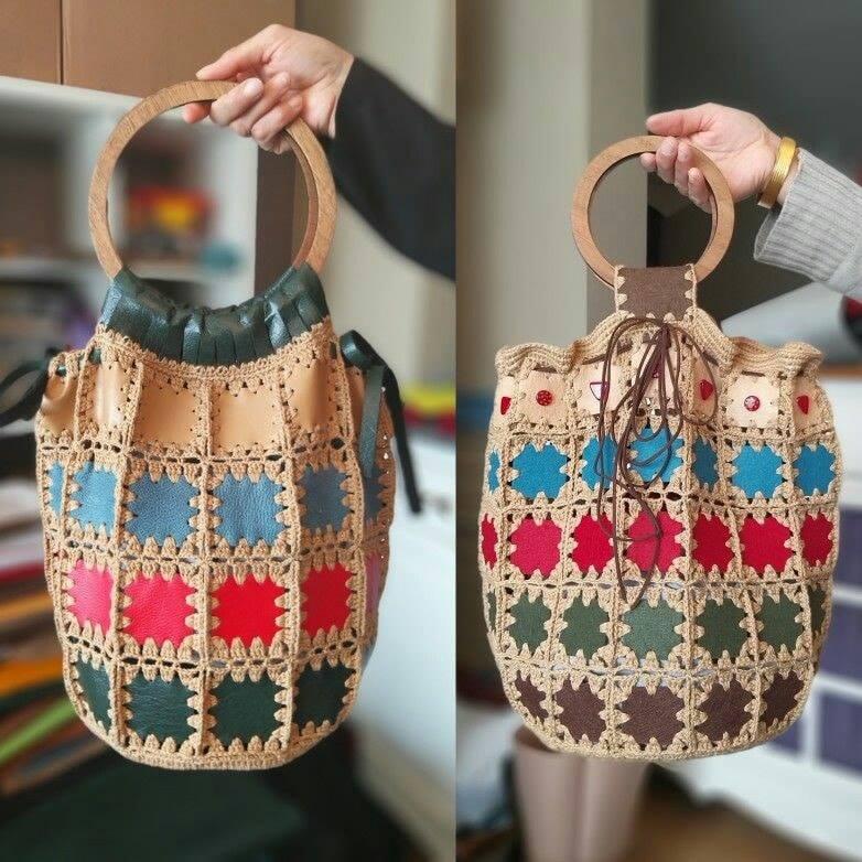 Bolsos lindos y originales en crochet y material
