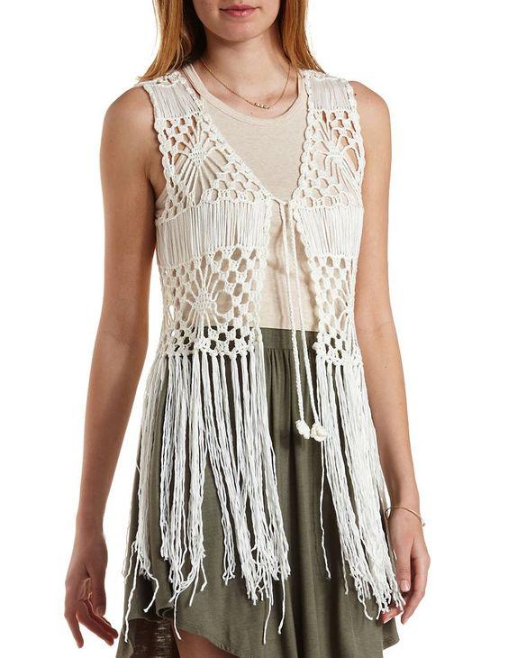 moda hippie, chaleco tejido en crochet