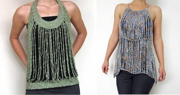 Prendas de crochet sólo con tiras de punto enano